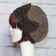 Herringbone Beret Hat Bow Brown Wool Beret Hat Bow Tweed