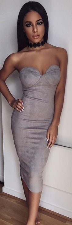 #summer #ohpolly #outfits | 'Sassy in Suede' Strapless Midi Dress in Grey