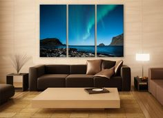 Norway Aurora Borealis Night Print 3 Panels Print Wall Decor Fine Art Landscape Photography Repro Print for Home and Office Wall Decoration by ZellartCo TAGS northern lights aurora aurora borealis night sky photo winter photography aurora wall print norway lofoten night beach nature photography gift large wall art office art