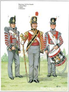 BritishBugler, Drum Major, and Drummer- 3rd Foot Guards Bugler Light Company, Drum-Major & Drummer c.1815