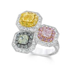 We love color! Check out these natural fancy color diamonds set in a classic David Mor ring.  #DavidMorJewelry #ring #jewelry #diamonds #handmade #jewels #davidmor #flawless #nyc #accessories #pinkdiamond #yellowdiamond #green #platinum #fancy #pink #luxury #rare #love #style #precious #highjewelry #beauty #diamond #platinumjewelry #pinkjewelry #instajewelry