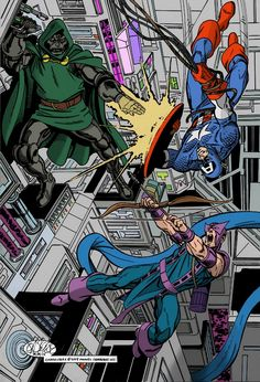 Captain America and Hawkeye vs Doom, by John Byrne by NewtypeS3 on DeviantArt