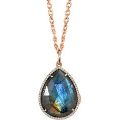 Irene Neuwirth- Labradorite & Diamond Pear-Shaped Locket Necklace