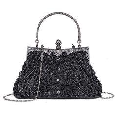 Women s Vintage Beaded and Sequined Evening Bag Wedding Party Handbag  Clutch Purse - Black - CM185QYEADN e2266eaffb74c