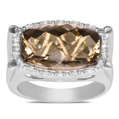 Ebay NissoniJewelry presents - .07CT Diamond w/ Smoky Quartz Ring in Silver    Model Number:FR7847A-SI77SMQ    http://www.ebay.com/itm/07CT-Diamond-w-Smoky-Quartz-Ring-Silver-/222062061573