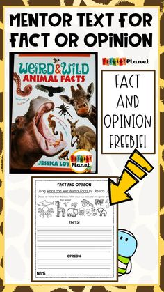 Mentor Text for Fact and Opinion! Weird and Wild Animal Facts by Jessica Loy Fact And Opinion, Opinion Writing, Persuasive Writing, 1st Grade Writing, 2nd Grade Reading, New School Year, First Day Of School, Summer School, Middle School