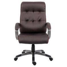Double Plush High Back Executive Chair Black - Boss Office Products, Brown #ChairUpholstery