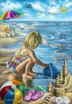 Tricia Reilly-Matthews Poster Print Wall Art Print entitled Summertime Treasures, None Wall Art Prints, Poster Prints, Canvas Prints, Framed Prints, Artist Canvas, Canvas Art, Big Canvas, Art Plage, Betty Boop