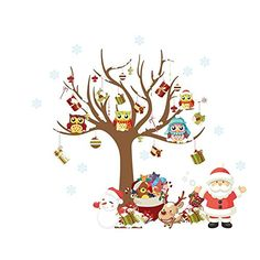 Looching Merry Christmas Santa Snowman Tree Removable Wall Stickers Murals For Shop Window Showcase Living Room Bedroom Kids Room Office Decor Glass DIY Home Art Decor Coffee House ** Read more reviews of the product by visiting the link on the image.