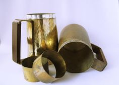 Pair of Vintage Brass Mugs | Napkin Rings | Beer Steins | Drinkware | Barware | Wood Handle | Peruvian Made | Father's Day | Gifts for Him