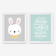 Let her sleep for when she wakes she will move mountains and cute little bunny set of two. Available in any sizes. Perfect for a nursery or kids room!  Please include * Little Bunny background color * Typography print Letters Color * Typography print background color  You can leave me all of this info when ordering at checkout in the note to seller box. I can also customize colors if these colors arent quite right for you. Leave these comments there as well.  Well email you a proof of your…