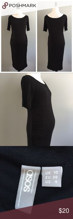 ASOS Maternity Black ruche dress This ASOS maternity dress is in great condition. Great black dress to dress up or down to show off the baby bump! I loved this dress and wore it to Posh Fest last year! Dress is very stretchy with ruching on both sides and has plenty of room to grow! ASOS Maternity Dresses Midi