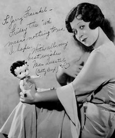 Mae Questel, the voice of Betty Boop, with her Betty Boop doll - c. 1930s