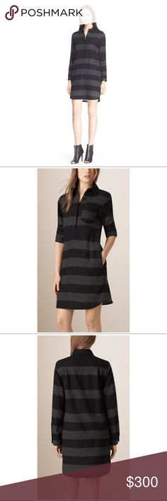 Burberry Brit Darin dress Grey and black stripe dress. Made with wool, super comfortable. My favorite part are the pockets. Burberry Brit Dresses Midi