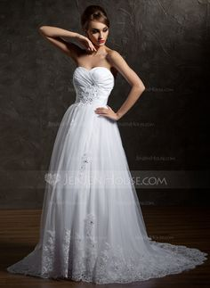 A-Line/Princess Sweetheart Court Train Taffeta Tulle Wedding Dress With Ruffle Beading Appliques Lace Sequins (002004967) - JenJenHouse