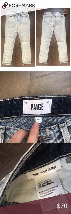 "Paige Jimmy Jimmy Skinny Acid Light Wash Jeans Paige Jimmy jimmy skinny size 25. made of cotton and rayon. Approximated 28"" waist, 8"" rise, 30"" inseam. EUC, Lighter wash. Paige Jeans Jeans Skinny"