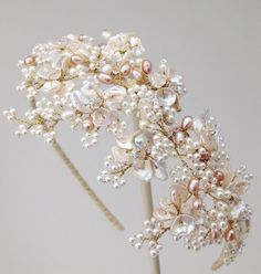 Wisteria Pearl Hairband perfect with any lace dress. Keishi champagne pearls and delicate crystals are wired together to create a cascade of pearl leaves.