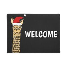 Shop Funny Llama in Santa hat Christmas Cartoon Doormat created by ChristmasSmiles. Personalize it with photos & text or purchase as is! Funny Llama, Cute Llama, Alpaca Funny, Llama Alpaca, Christmas Doormat, Llama Christmas, Christmas Cartoons, Funny Doormats, Personalized Door Mats