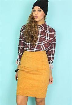 Yellow Tan Suede Mini Skirt