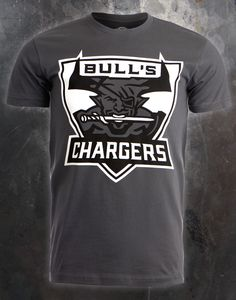 """The Bull's Chargers shirt is a sport-inspired mascot-like design, showing Bull with a dagger in his mouth. The name """"Bull's Chargers"""" is spread above and below his image."""
