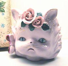 Kitten Cat Wall Pocket Vase Vintage Pink Roses ANIMAL CHARITY DONATION