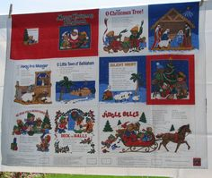 Fabric Panel Merry Christmas Songbook Soft Cloth book to sew VIP Cranston