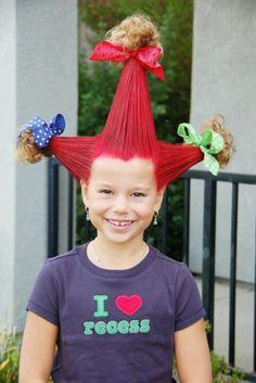 Crazy hair for wacky tacky theme fall festival