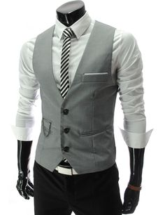 Mens slim fit chain point 3 button vest