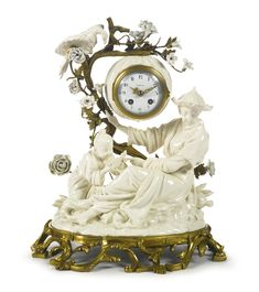 A Louis XV style gilt bronze-mounted Samson porcelain mantel clock late 19th century, dial signed Piolaine