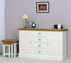 Our New England sideboard is hand crafted in the UK and exemplifies our approach to offering beautifully styled, durable furniture at sensible prices. We offer a bespoke design and manufacturing service so you can tweak the finish to your heart's content. Painted Sideboard, White Sideboard, Painted Furniture, Furniture Design, Hallway Furniture, Living Room Furniture, Wooden Tops, Country Furniture, Bespoke Design