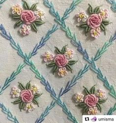 Wonderful Ribbon Embroidery Flowers by Hand Ideas. Enchanting Ribbon Embroidery Flowers by Hand Ideas. Brazilian Embroidery Stitches, Rose Embroidery, Japanese Embroidery, Hand Embroidery Stitches, Silk Ribbon Embroidery, Hand Embroidery Designs, Embroidery Techniques, Cross Stitch Embroidery, Embroidery Patterns