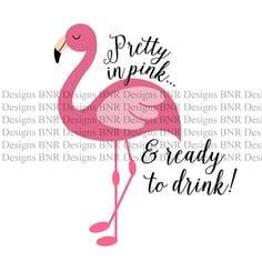 Pretty in Pink Flamingo SVG DXF File Cricut File Cameo Flamingo Puns, Flamingo Craft, Pink Flamingo Party, Pink Flamingos, Pretty In Pink, Flamingo Party Supplies, Pink Bird, Cricut, Silhouette