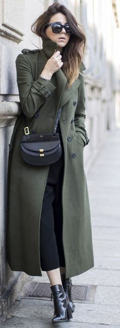 Green Military Long Coat Fall Street Style Inspo #Scent Of Obsession