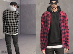 Open Shirt (Hoodie) by Sims 4 Men Clothing, Sims 4 Male Clothes, Male Clothing Styles, Sims 4 Body Mods, Sims 4 Mods, Sims 4 Curly Hair, Play Sims 4, Around The Sims 4, Sims 4 Characters