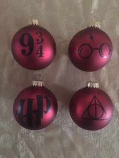 4 HARRY POTTER INSPIRED GLASS BALL CHRISTMAS ORNAMENTS HANDMADE GIFT RED  | eBay