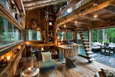 Off grid living with repurposed materials.