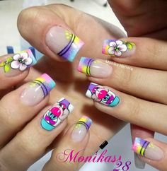 Crazy Nail Art, Crazy Nails, Cute Nail Art, Nail Art Diy, Cute Nails, Wow Nails, Magic Nails, French Tip Nails, Toe Nail Designs