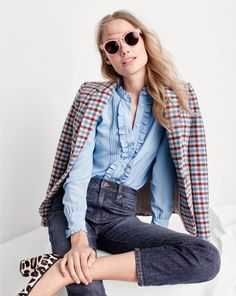 J.Crew women's Campbell blazer in crimson petal plaid, ruffled silk button-up top in frosty sky, vintage crop jean in Leopold wash, Jane sunglasses and Sophia pumps.