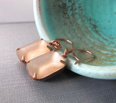 Glass Earrings Copper Earrings Vintage Rhinestones by fiveforty, $24.00