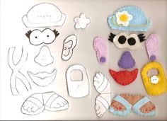 Here are the parts and combinations I made for the Mr. The basic potato and arms. These are not my patterns. Quiet Book Templates, Quiet Book Patterns, Toddler Books, Toddler Fun, Kids Fun, Felt Doll Patterns, Felt Quiet Books, Book Quilt, Busy Book