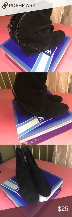 New with tags black wedged slouch boots in 9 1/2 Picture is for inspiration!!! These White Mountain suede black slouch boots are perfect for dressing an outfit up a little with a wedge heel on the boot! Perfect for fall and winter! White Mountain Shoes Heeled Boots