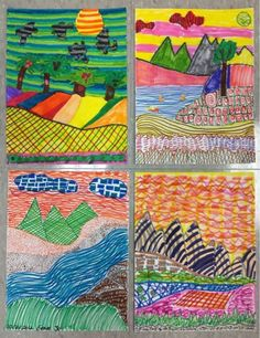 Mrs. Knight's Smartest Artists: Landscape Layers, 4th grade