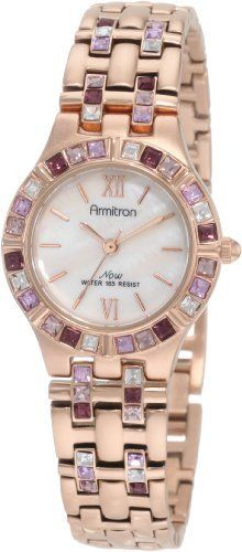 Armitron Women's 75/3782MPPR Gold-Tone Clear and Purple Crystal Accented Bracelet Watch Armitron. $67.49. Mother-of-Pearl dial with rosegold-tone Roman numerals at 12 and 6. 25 Swarovski crystals accent the rosegold-tone adjustable linked bracelet with a one-touch two-button fold over clasp. Rosegold-tone bezel accented with 24 purple Swarovski crystals. Water-resistant to 165 feet (50 M). Rosegold-tone hour hands; Sweep second hand. Save 25% Off!
