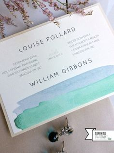 modern watercolour custom wedding invitation by Cornwall Stationery, Vancouver wedding invitations