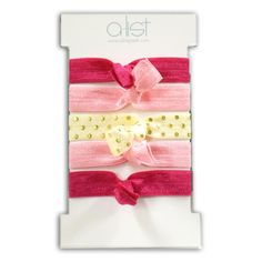 Cute Phi Mu elastic hair ties/bracelets - 5 pack includes 2 rose, 2 light pink and 1 gold polka dot. Group discounts available. Shop now!