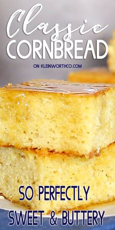 This Classic Cornbread recipe is made with buttermilk & butter for an AMAZING buttery flavor that's extra moist, with tender crumbs. Classic Cornbread Recipe, Savory Cornbread Recipe, Healthy Cornbread, Moist Cornbread, Sour Cream Banana Bread, Vegan Banana Bread, Make Banana Bread, Chocolate Chip Banana Bread, Easy Bread Recipes