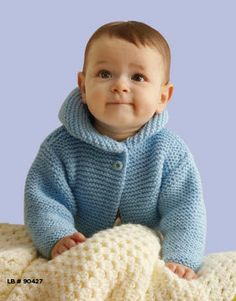 Free Pattern..Lion Brand® Pound of Love® Storybook Baby Hoodie #knit #pattern