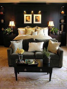 tranquil dark bedroom @ DIY Home Design