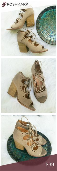 NWT BKE Buckle B Siren tie up cut out tan heels  I love these with a passion!  Brand new, these shoes have never been worn before. They still have the price tags on them.  Size 7.5 , retail $55 Perfect condition. Buckle Shoes Heels