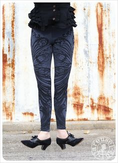 Filigree Art Nouveau Leggings by Carousel Ink - Steel Blue Tights - Printed Womens Legging - MEDIUM on Wanelo